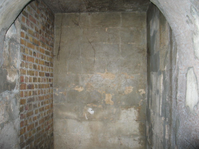 The bricked up end of the tunnel from the Secret Garden side.