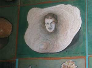 Portrait of Andy in a shell. Part of a large collection of shell mpainting on board by de Belleroche