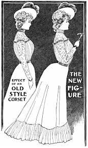 Late 1890s showing the 'new' corset style