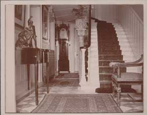 The hall. Note the extraordinarily tall jardiniere with the plant touching the next flight of steps