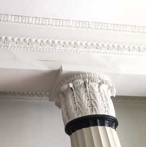 plasterwork in the hall