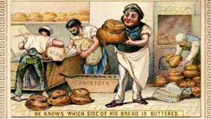 Cartoon showing the various ways that bread could be adulterated