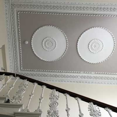 Ceiling roses and cornice in No 31 Sussex Square