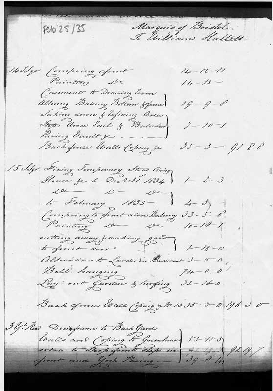 25 February 1835 Halletts account for work on 14 and 15 Sussex Square