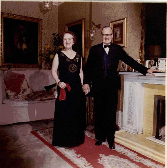 Harry and Minnie Weston in the drawing room at Fife House