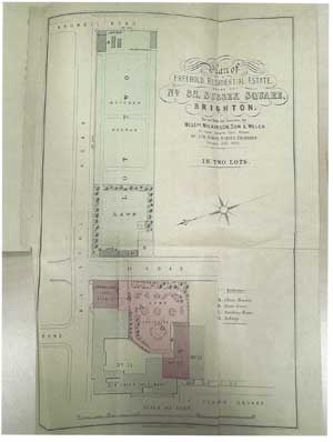 Plan from the Sale Brochure of 1900 showing the property boundaries and tunnel.